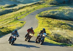 2011 Ducati Monster 796, Triumph Street Triple R, BMW F 800 R action